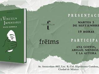 """Lanzamiento de """"El vínculo impensable"""" en Freims, CDMX."""