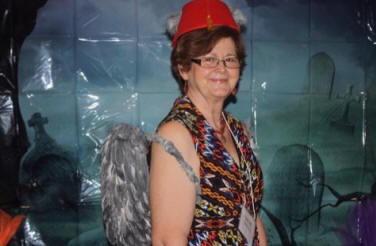 Gwenn Davis wearing some wings