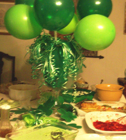The table is decorated so green!