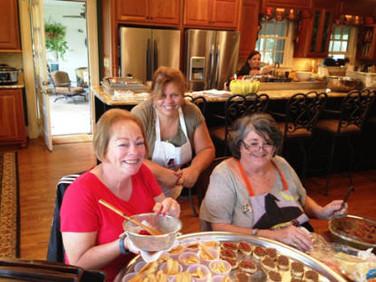 The food preparation team:  Beth Garay, Suzanne Gainey, and Judy Starkloff