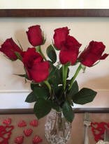 Long stem red roses & heart shaped chocolate...Happy Valentine's Day