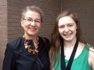 Marilyn Mancini, Chapter AC, and Zoe Bakker  at the Northridge High School  Honors Day Assembly, May 3, 2013.