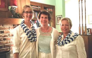 (L to R) Chapter Z President, Barb Tonn, Barb Halupka, and Beth Beck, Guard. Chapter Z initiated Barb Halupka on September 1, 2015. She is a wonderful addition to our P.E.O. Sisterhood.