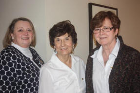 Becki Reardon, State Organizer, Ch AM, with Ch AM officers Linda Gunderson, V.Pres & Gwenn Davis, Treas.