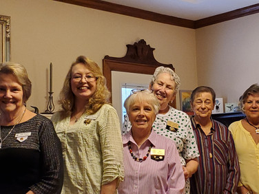 President - Pat Tracy; Treasurer - Carol Sue Lewis; Corresponding Secretary - Pat Franklin; Recording Secretary - Mame Morgenstern; Guard - Bobbie McAdams; Chaplain - Connie Jones; Not pictured - Vice President - Carol Doucet
