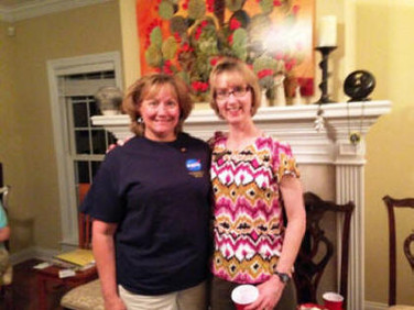 Kathy Christy (left) and Barb Tonn, President, Chapter Z, Huntsville at the May 5, 2015 meeting.
