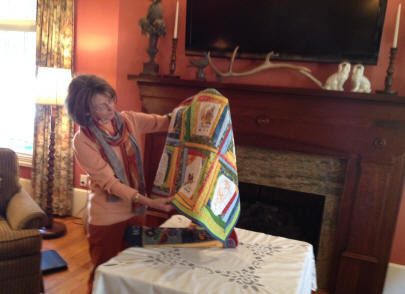 Phyllis Stanaland is displaying her quilt.