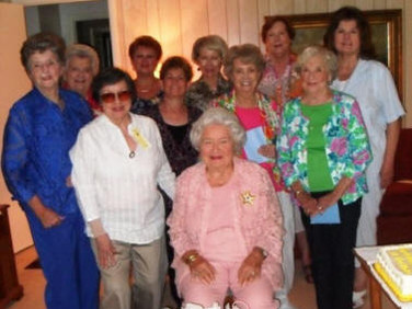Seated in front - Our 90th Birthday Celebrant, Mary Virginia Stanford.  Second Row:  Margaret Mock, Marty Kyker, Debra Laughlin, Helen Rittenour, Martha Stripling.  Back Row: Bette Bryan, Su Ofe, Hope Inman, Martha Given, Nancy Deabler.