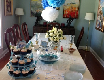 The table is all set for a baby shower that Chapter AJ held for Eve Welte