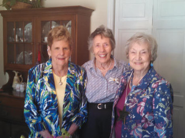 Our Charter Members:  Peggy Hase, Peggy Schlemmer and Nadean Hankins at the brunch, hosted by Peggy Hase.