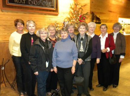 L to R: Betty Quick, Judi Morgan, Sharon Penton, Karen Brown, Linda Steen, Jeanie Blackburn, Shirley Simpson (our performer), Sheila Morgan, Dot Vosloh and Kathleen Roberts.
