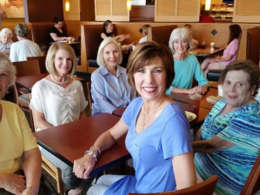 Enjoying their chapter-get-togethers at Panera Bread are: front row: Mary Elizabeth Furnald, Amy White, Margie Moody and Gail Moseley back row: Susan Allredge, Claudia Graham and Susan Poole