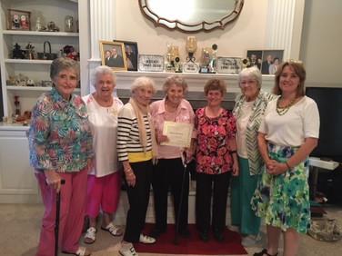 L-R. Margaret Mock, Bette Bryan, Martha Stripling, Helen Rittenour, Debra Laughlin, Peg Carlton, and Elizabeth Harber