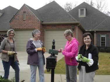 PEO's pictured are Jane Cole, Pat Moulton, Margaret Balch, Harriet Cloud, Annette Blake, Ann Birchall, Kathy Graham.