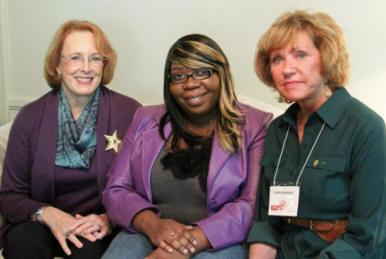 Anne Bloomer, P.C.E. chair, Jolanda, and Char Bonsack, Chapter B president