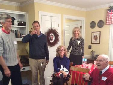 Members enjoying pre-dinner wassail    (Jim Bradley, Rich Hoerlein, April MacDonald, Charlotte Hoerlein )