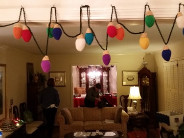 Knitted Light Bulbs Decorated Sarah Morgan's House for the Meeting