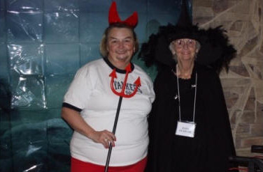 "Becki Reardon, the ""damned Yankee"" and Barb Reardon as the wicked witch from the West."
