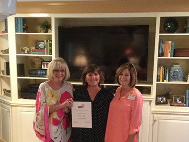 Sue Lauderbaugh  (PCE chair), Janna Leigh (recipient), Janie Kernion (Chapter AE president).