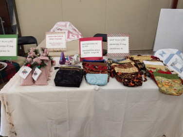 All items were hand made; purses, jellies, potholders, & soup.