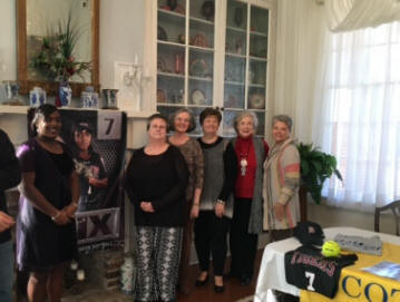Jackie Nix, with Nancy Wickwire, Louise Taylor, Janice Alcorn, Grace Anderson, and Jenny Carothers