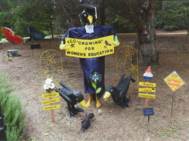 """Chapter M welcomed fall in a big way by participating in the Huntsville Botanical Garden's """"Scarecrow Trail""""."""