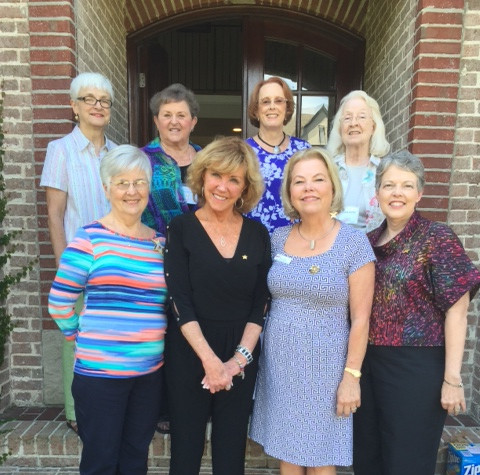 Nancy Sites visited Chapter B on Sept 16. Pictured are Char Bonsack, President and officers in Birmingham