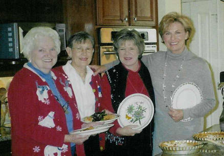 Hostesses: L to R:  Jo Wiggins, Margaret Hill, Susan Housel and Kennie Kay Halley