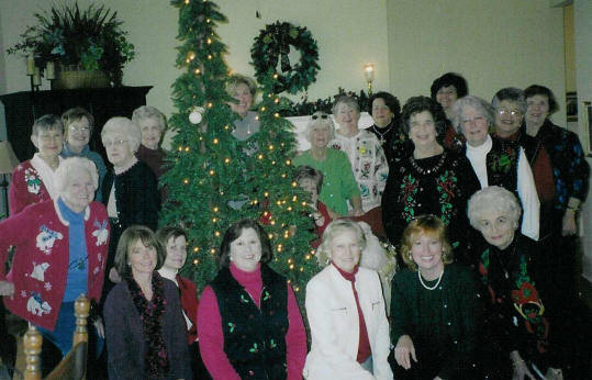 1st Row:  L to R:  Phyllis Stanaland, Jeanne McKenzie, Martha Dumas, Merle Bass, Rachael Creech, Barbara Wilson 2nd Row:  Jo Wiggins, Elizabeth Davis, Susan Housel, Jane Moore, Gina Fromhold, Dottie Morgan, Barbara Marsee, Lois Graves. 3rd Row:  Page Adams, Sarah Reynolds, (Tree Topper and Hostess) Kennie Kay Halley, Starling Grisham, Kay Guthrie, Virginia Hayes.