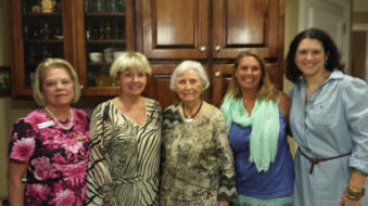 Nancy Sites (Alabama State Chapter President), Shirley Paramore (Alabama State Chapter Vice President), Frances Graham, Christy Edwards, and Jennifer Kopf (President of Chapter T)