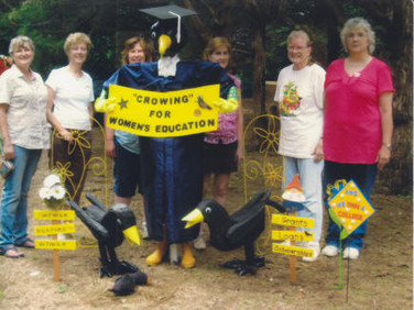 The hardworking ladies who created the scarecrow are from left to right:  Jan Neighbors, Karla Gniadek, Lori Davis, Sandy Campbell, Judy Brolliar and Nancy Newell.