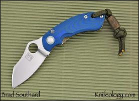 Downing Drop Point, Blue/Green G10