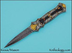 Dagger, Eggerling Damascus, Joe Mason Engraver