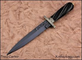 Blued Dagger,Engraved, Fluted Silver Wire Wrapped Ebony Handle