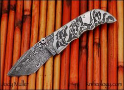 Tribal Dragon Tactical, Damascus, Engraved Titanium