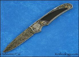 Leopards Engraved by C J Cai, Black Edwards Jade & Damascus