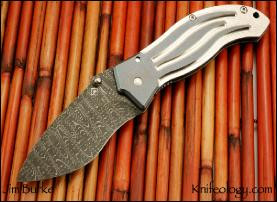 Firewater, Chad Nichols Stainless Damascus, Skull Thumbstud