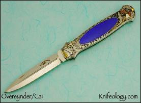 Dagger Neptune's Rule Engraving by C J Cai, Lapis Inlay