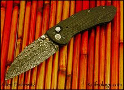 Hoplite, Nichols Lizard Skin Damascus & Carbon Fiber