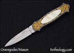 Dagger Gold Scroll Engraving by Joe Mason, Gold Lip Pearl