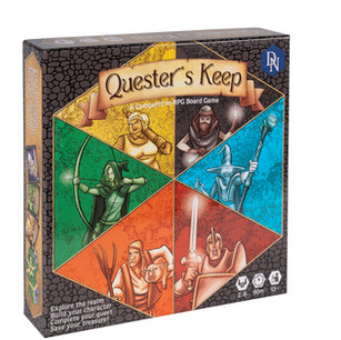 Quester's Keep is a board game for 2 to 6 players. At the beginning of the game each player selects a character and is given 3 secret quest cards. The board is made up of hex shaped tiles and the game starts at the Keep tile which is surrounded by 6 randomly chosen land tiles. Each land has the name of a location on it and players are looking for the ones that match their quest cards. On each player's turn they can move from one tile to an adjacent tile and draw a random land tile if none exists in the direction they wish to move. Then they draw a wild encounter card and resolve it. Defeated wild encounters can be traded at the Keep for treasure or character improvements from the Keep's marketplace. A player that moves on to a land tile with a location that matches one of their secret quest cards can reveal the card to draw from the quest encounter deck instead of the wild encounter deck. If they defeat the encounter they have completed the quest, collect the treasure, and place the quest card face up in their player area so everyone can see how many quests they have completed. However, if they fail or flee the quest a red marker is placed on that location and the quest is now considered an open quest for any player to attempt. Only treasure that is safely deposited at the keep counts towards victory so you have to get it back to the keep safely. Once someone has completed three quests a 6 round endgame counter is started. At the end of the 6th round each player's banked treasure at the keep is counted and the player with the most treasure wins.
