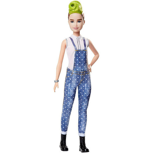 BARBIE FASHIONISTAS DOLL 124 - GREEN MOHAWK AND DENIM OVERALLS