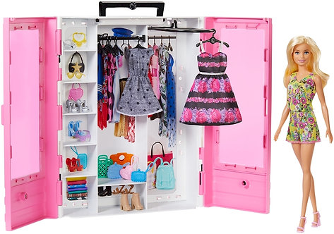 BARBIE FASHIONISTAS PORTABLE CLOSET WITH DOLL - BLUE DRESS
