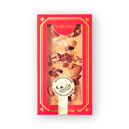 Білий шоколад з горіхами та цукатами
