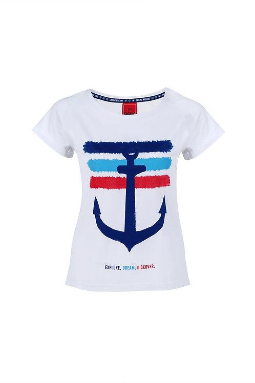 T-shirt Anchor Stripes White