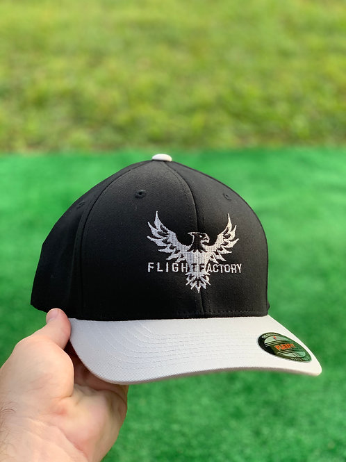 Flight Factory Black and Silver Flexfit Hats