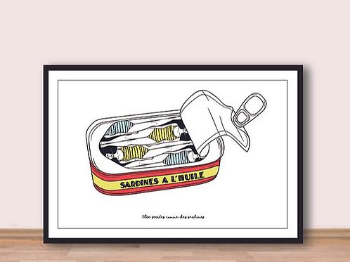 """Palm Illustrations - """"Être serrées comme des sardines"""" Affiche A4"""