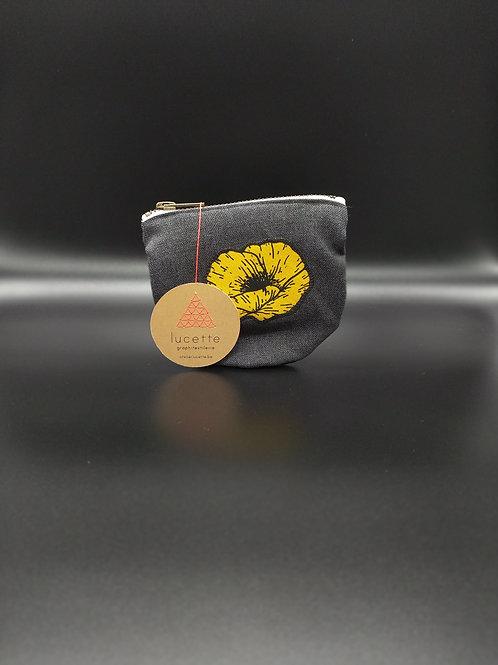Lucette graphitextilerie - Petite pochette arrondie avec coquelicot jaune