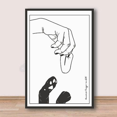 """Palm Illustrations - """"Donner sa langue au chat"""" Affiche A4"""