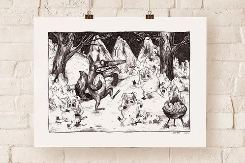 Jean-Bon-«Cochons et Loup» print